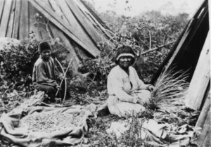 Native woman and boy